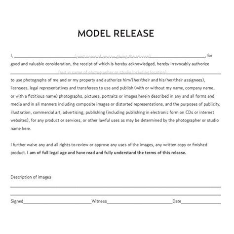standard model release form template 25 best photography contract ideas on