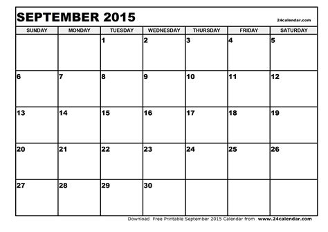 Blank Calendar For September 2015 Blank September 2015 Calendar In Printable Format