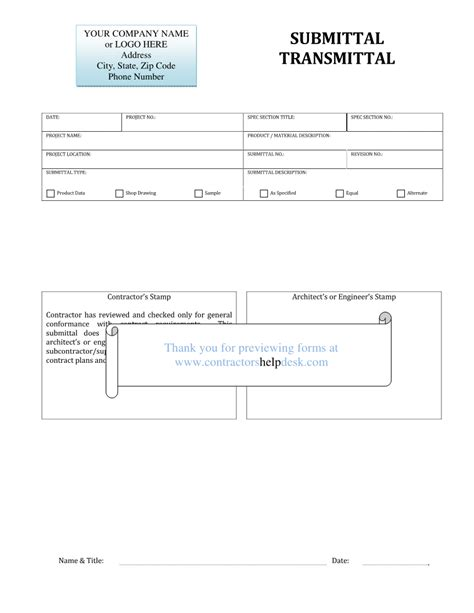 Transmittal Log Format Contractors Help Desk Forms