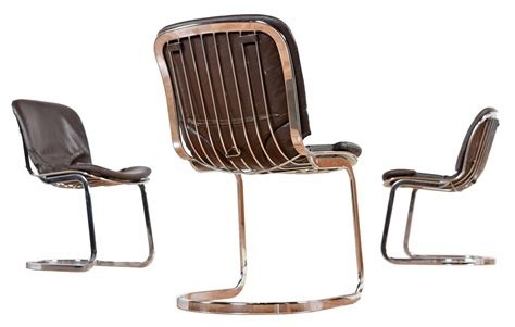 vintage italian chrome chairs six vintage cidue italian chrome and leather chairs for