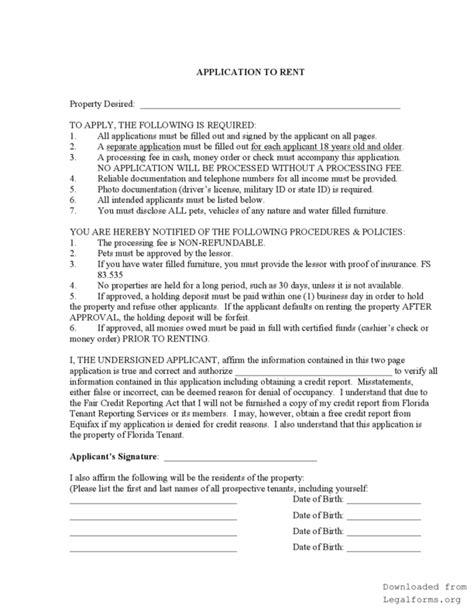 lease agreement template florida florida rental application legalforms org