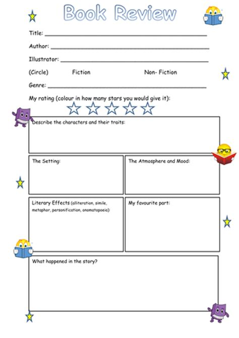 book review layout ks2 book review frame ks2 by steffster teaching resources tes