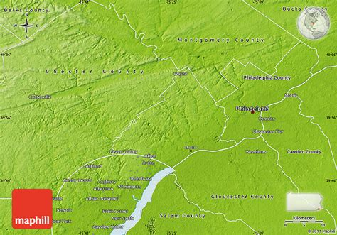 physical map of pennsylvania physical map of delaware county