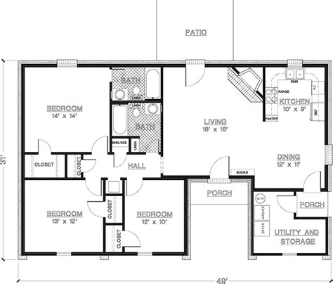 3 bedroom 1 bath floor plans simple one story 3 bedroom house plans imagearea info