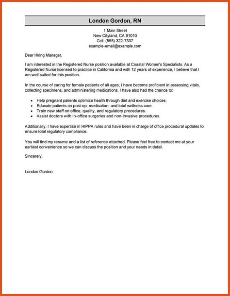 Cover Letter Exles Registered Rn Cover Letter Moa Format