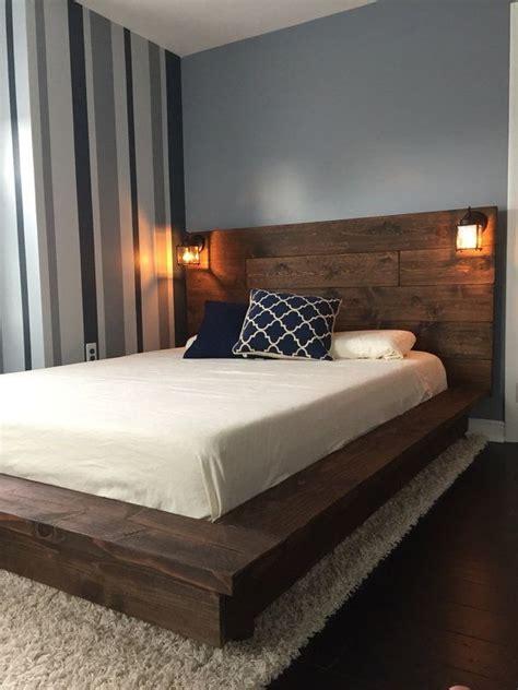 floating wood platform bed frame  lighted headboard