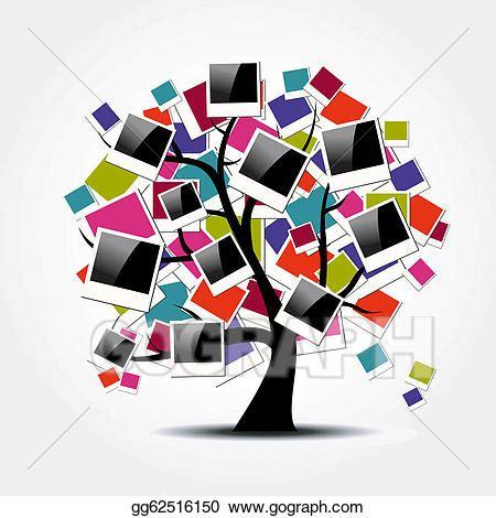 vector clipart memory family tree with polaroid photo