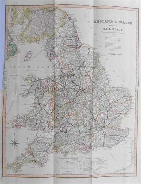 l online uk large antique england and wales railway map teesdale