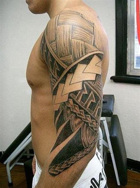 mens half sleeve tribal tattoos polynesian tribal sleeve for
