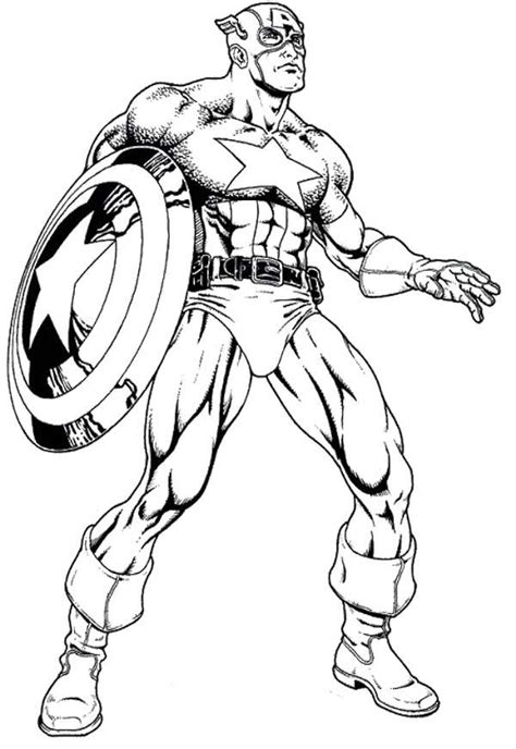 Coloring Page Captain America by Captain America Coloring Pages To And Print For Free