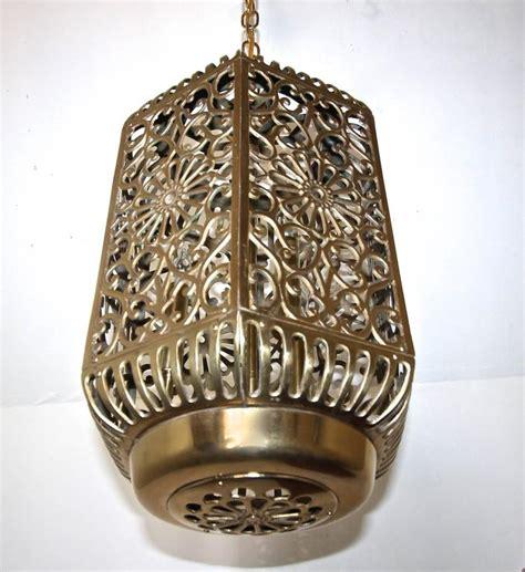 Japanese Light Fixtures Large Pierced Filigree Brass Japanese Asian Ceiling Pendant Light For Sale At 1stdibs