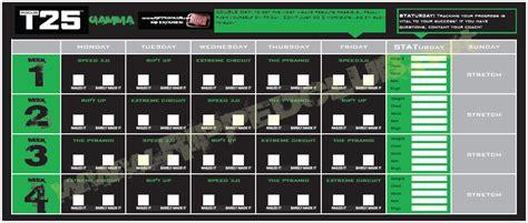 Calendario T25 Gamma Focus T25 Workout Schedule Free Pdf Calendar For All