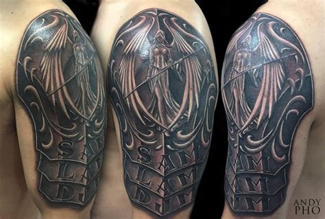 shoulder armor tattoo designs 60 wonderful armor tattoos