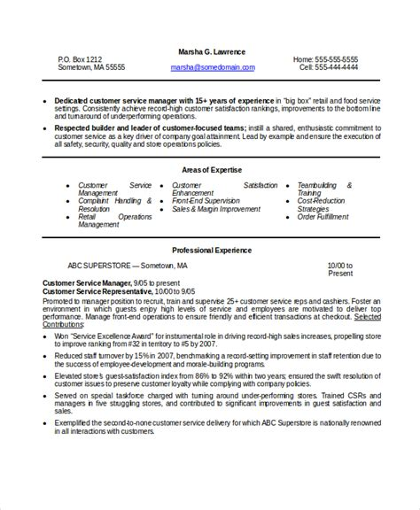 Customer Service Resume Template Word by 9 Manager Resume Templates Pdf Doc Free Premium Templates
