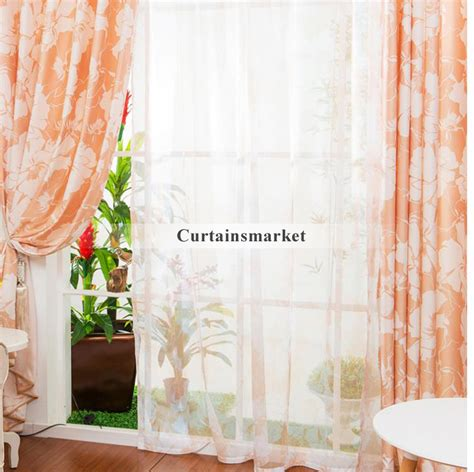 Orange Patterned Curtains Orange Patterned Curtains Of Floral Patterns In 2 Panels