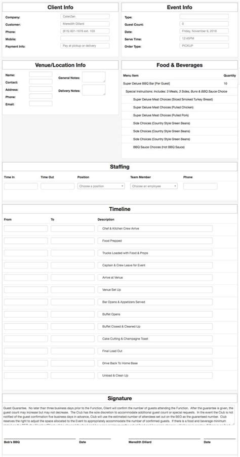 Beo Software And Templates For Caterers Caterzen Beo Template Excel