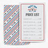 barber shop vector price list template haircut and shave retro barber barbershop price list template stock vector illustration