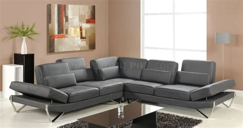 sectional sofa in grey leather by at home usa