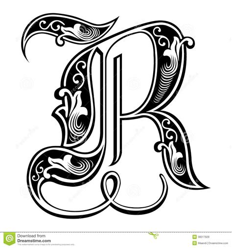 tattoo fonts letter r garnished style font letter r from