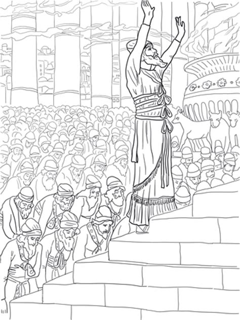 coloring page of king solomon s temple solomon prayer in the temple coloring page free