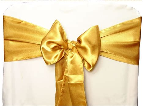 Gold Sashes For Chairs by Gold Satin Wedding Chair Sash Bow
