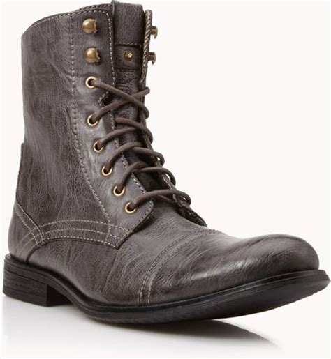 21men distressed faux leather combat boots in brown for