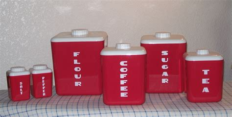 plastic kitchen canisters red plastic kitchen canisters salt and pepper 1950 s