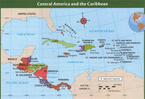 central america the caribbean map panama