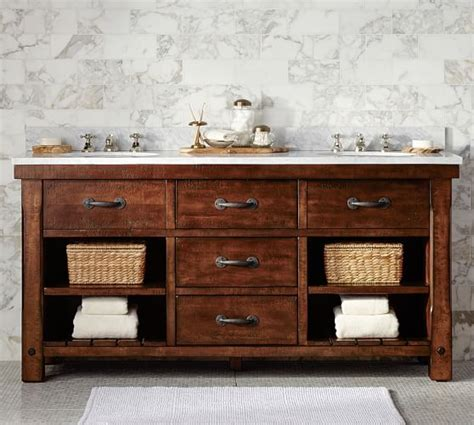 pottery barn sink console benchwright double sink console rustic mahogany finish