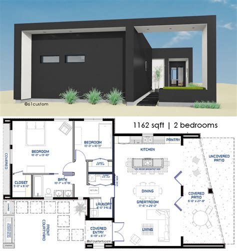 small modern front courtyard houseplan