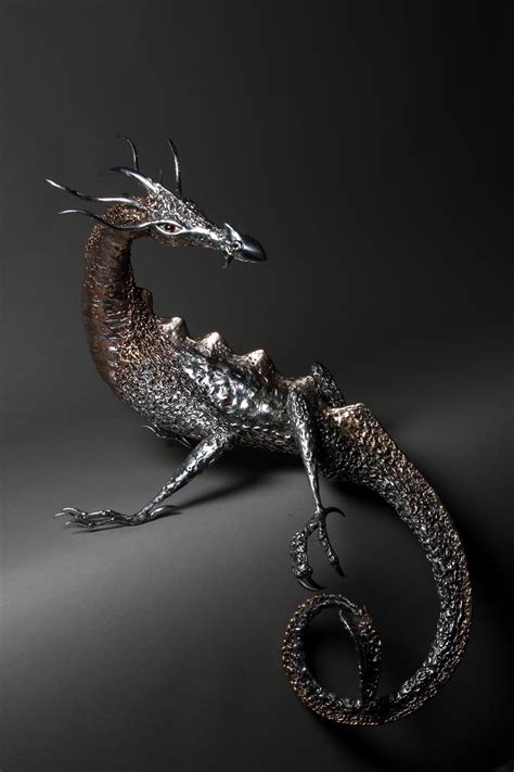 A Polished Bronze and Stainless Steel Dragon Sculpture Cheshire