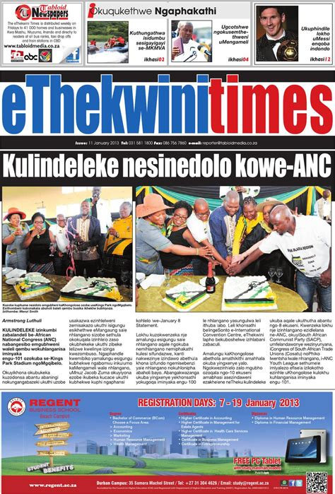 Regent Mba Accreditation by Ethekwini Times 11 01 13 By Tabloid Newspapers Issuu