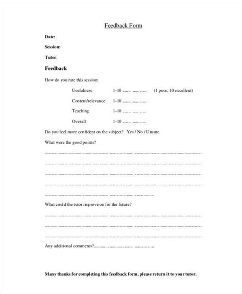 teaching feedback form template student feedback form exle