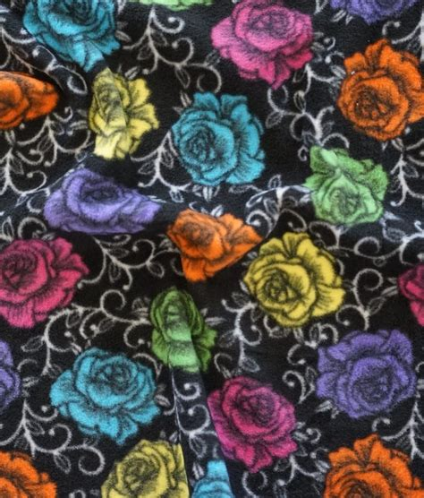pattern for fabric roses roses anti pill fleece fabric