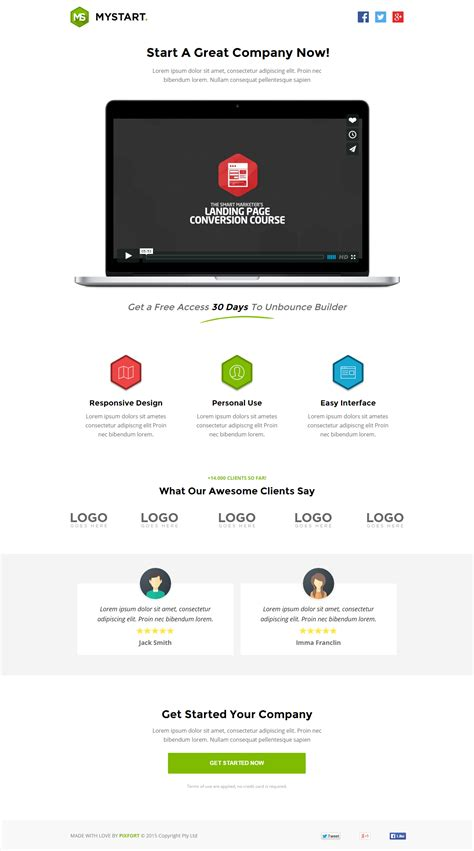 startup landing page template mystart startup unbounce landing page template by