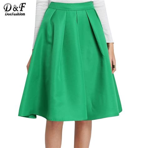 Wedges Pocket Flare Skirt sheinside fashion 2016 style s solid casual flare high waist pleated pockets