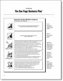 One Page Business Plan Template The One Page Business Plan