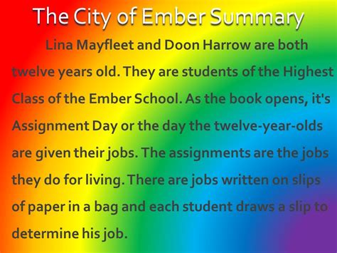 s day summary city of ember by jasdeep dhaliwal ppt