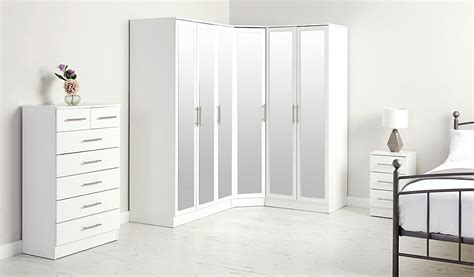 Corner Wardrobes For Sale by George Home Roselyn Corner Wardrobe With Mirror White