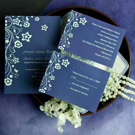 blue and wedding invitations discount retro garden navy blue floral wedding invitation