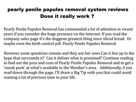 pearly penile papules removal system reviews dose it