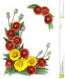 Corner Bed Frame Decorative Frame Of Bright Red And Yellow Flowers Stock