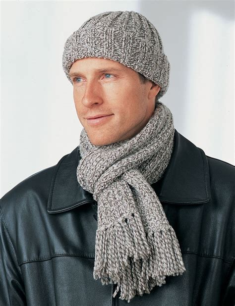 mens knitting patterns free s winter hat and scarf favecrafts