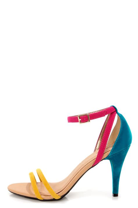 colored high heels promise delma yellow multi color block high heel sandals