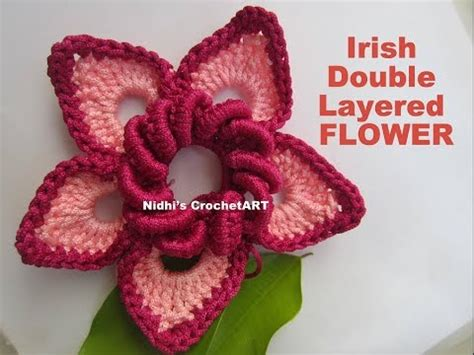 crochet layered flower pattern youtube how to crochet irish double layered flower tutorial youtube