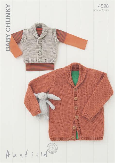 baby chunky knit cardigan 4598 hayfield baby chunky shawl collared cardigan