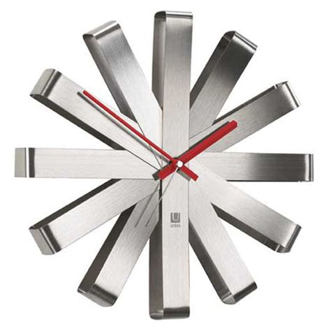 stylish wall clocks modern and stylish umbra ribbon stainless steel wall clock