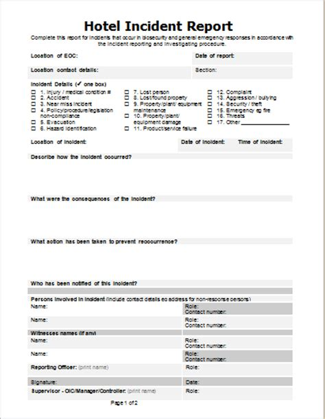 Hotel Incident Report Letter 3 Injury Incident Report Templates For Word Document Hub