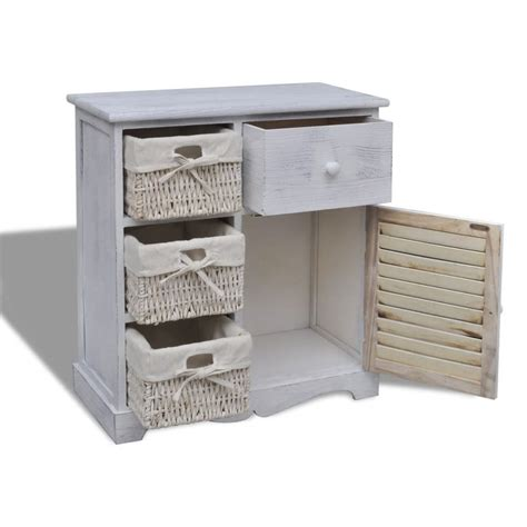 white cabinet with baskets vidaxl co uk white wooden cabinet with 3 left weaving