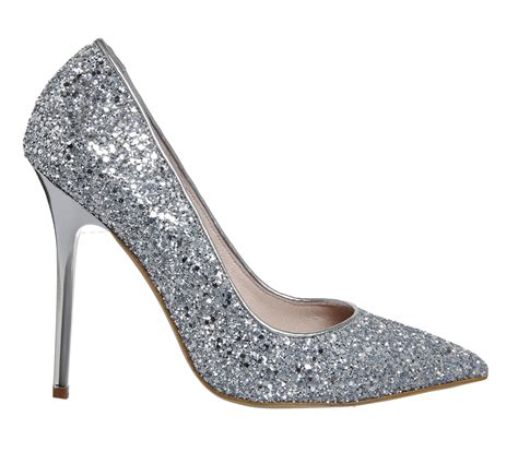 office on to point court heels silver glitter high heels